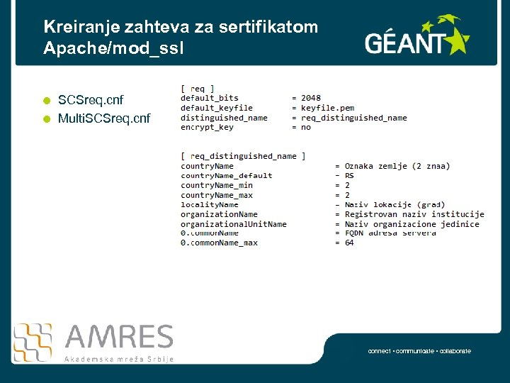 Kreiranje zahteva za sertifikatom Apache/mod_ssl SCSreq. cnf Multi. SCSreq. cnf connect • communicate •