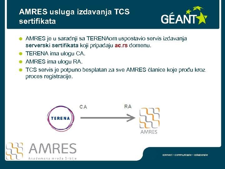 AMRES usluga izdavanja TCS sertifikata AMRES je u saradnji sa TERENAom uspostavio servis izdavanja