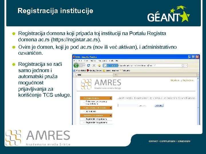 Registracija institucije Registracija domena koji pripada toj instituciji na Portalu Registra domena ac. rs