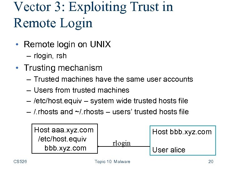 Vector 3: Exploiting Trust in Remote Login • Remote login on UNIX – rlogin,