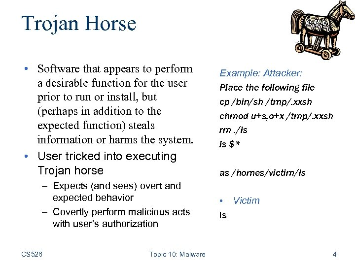 Trojan Horse • Software that appears to perform a desirable function for the user