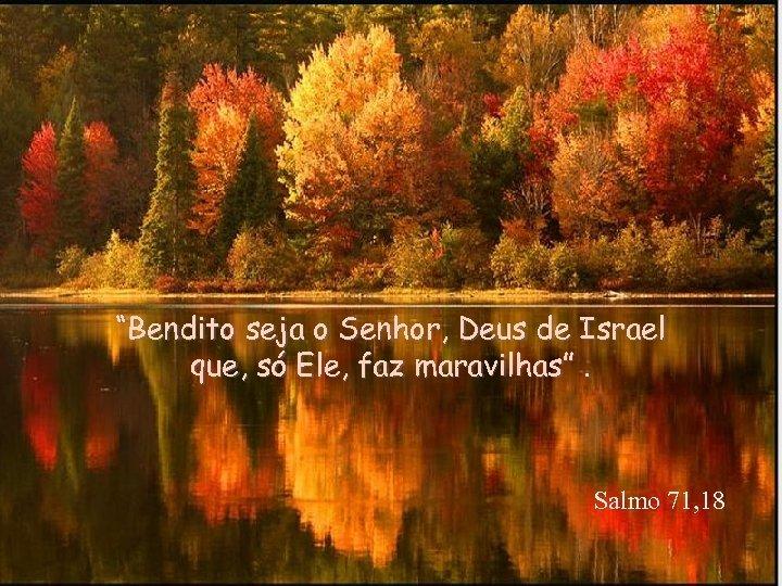 """""""Bendito seja o Senhor, Deus de Israel que, só Ele, faz maravilhas"""". Salmo 71,"""