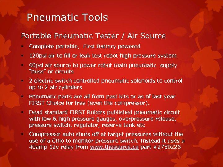 Pneumatic Tools Portable Pneumatic Tester / Air Source § Complete portable, First Battery powered