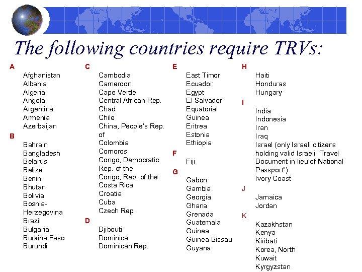 The following countries require TRVs: A C Afghanistan Albania Algeria Angola Argentina Armenia Azerbaijan