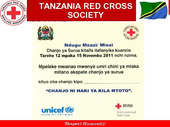 TANZANIA RED CROSS SOCIETY REMINDE STICKER 'Respect Humanity'