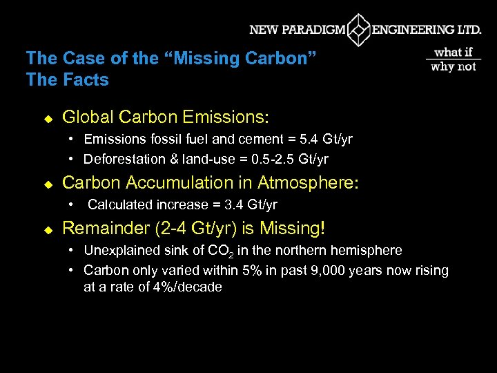 """The Case of the """"Missing Carbon"""" The Facts u Global Carbon Emissions: • Emissions"""