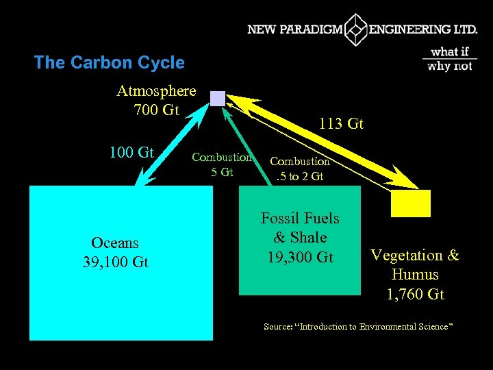 The Carbon Cycle Atmosphere 700 Gt 100 Gt Oceans 39, 100 Gt Combustion 5