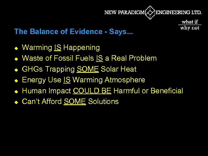The Balance of Evidence - Says. . . u u u Warming IS Happening