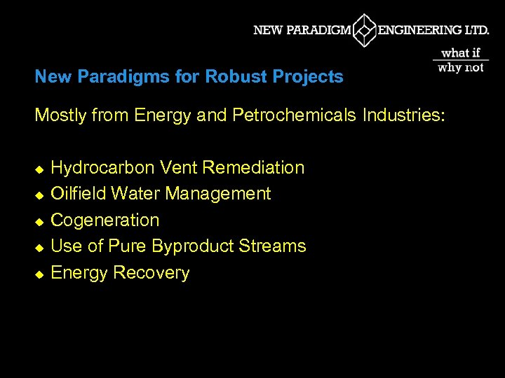 New Paradigms for Robust Projects Mostly from Energy and Petrochemicals Industries: u u u