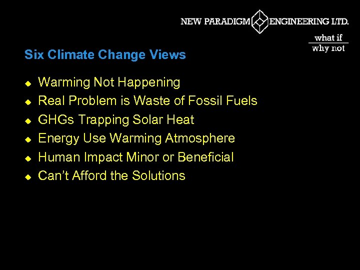 Six Climate Change Views u u u Warming Not Happening Real Problem is Waste