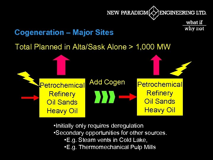 Cogeneration – Major Sites Total Planned in Alta/Sask Alone > 1, 000 MW Petrochemical