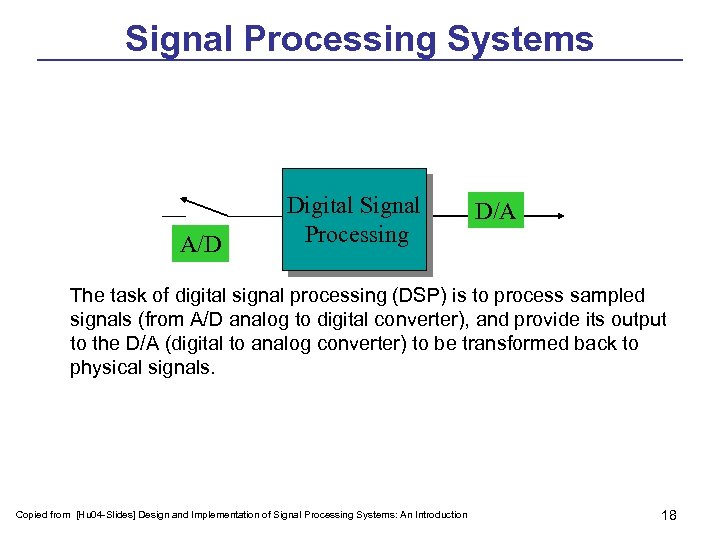 Signal Processing Systems A/D Digital Signal Processing D/A The task of digital signal processing