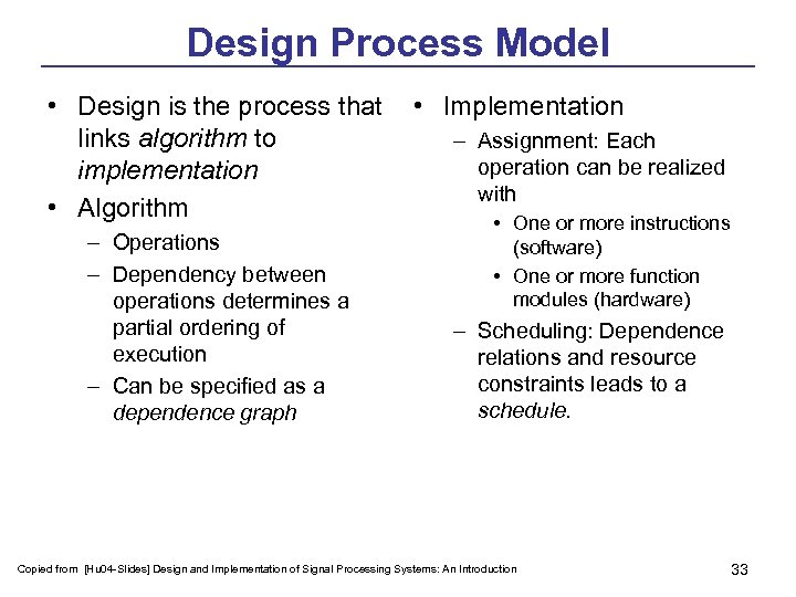 Design Process Model • Design is the process that • Implementation links algorithm to