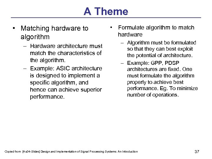 A Theme • Matching hardware to algorithm – Hardware architecture must match the characteristics