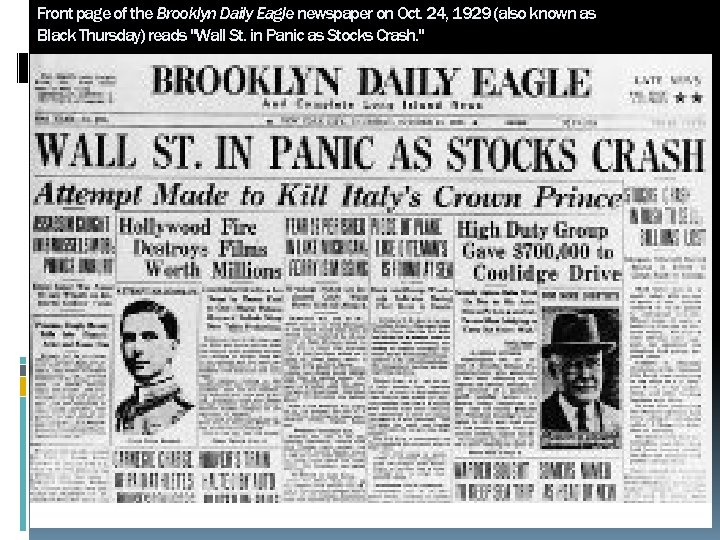 Front page of the Brooklyn Daily Eagle newspaper on Oct. 24, 1929 (also known