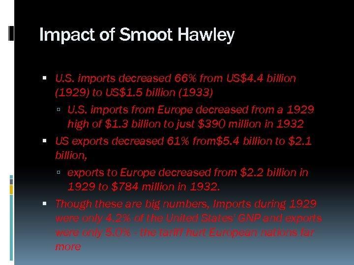 Impact of Smoot Hawley U. S. imports decreased 66% from US$4. 4 billion (1929)