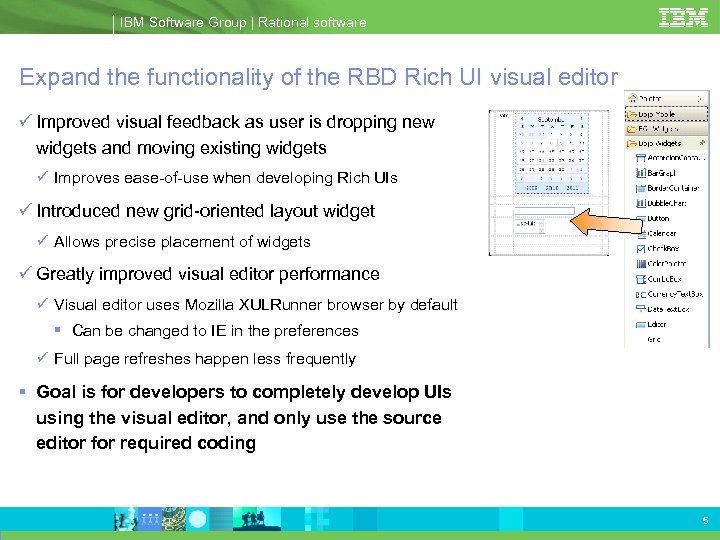 IBM Software Group | Rational software Expand the functionality of the RBD Rich UI