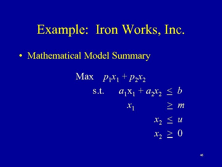 Example: Iron Works, Inc. • Mathematical Model Summary Max p 1 x 1 +