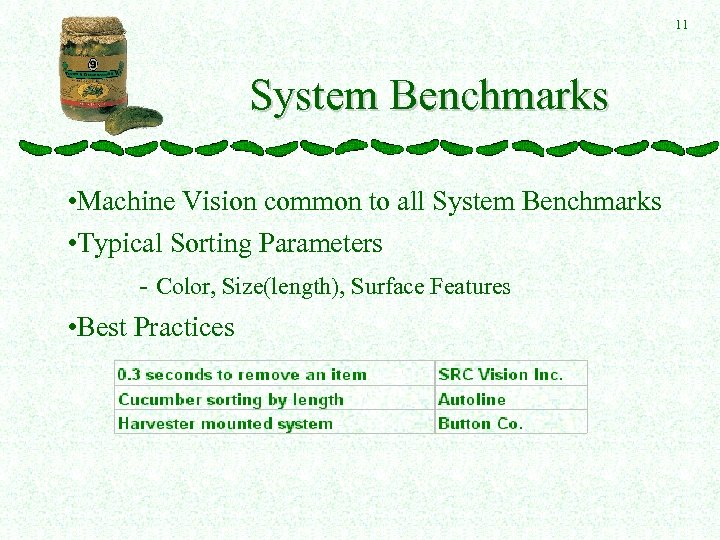 11 System Benchmarks • Machine Vision common to all System Benchmarks • Typical Sorting