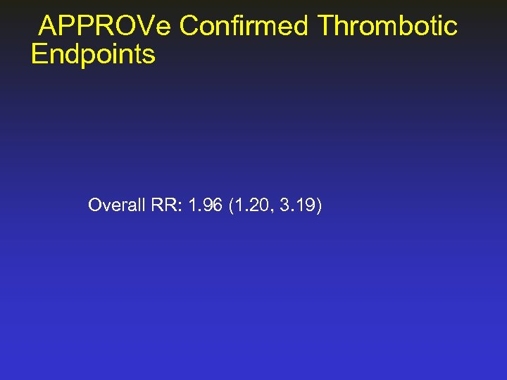 APPROVe Confirmed Thrombotic Endpoints Overall RR: 1. 96 (1. 20, 3. 19)