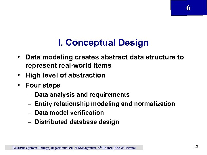 6 I. Conceptual Design • Data modeling creates abstract data structure to represent real-world