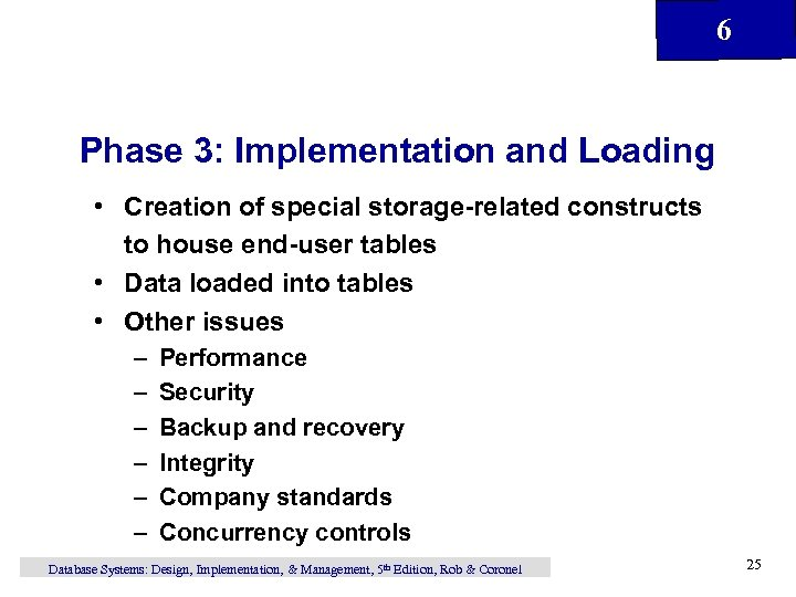6 Phase 3: Implementation and Loading • Creation of special storage-related constructs to house