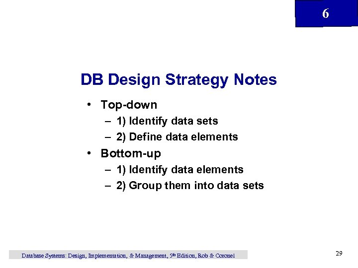 6 DB Design Strategy Notes • Top-down – 1) Identify data sets – 2)