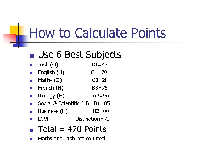 How to Calculate Points n Use 6 Best Subjects n Irish (O) B 1=45