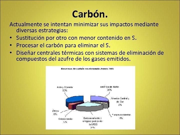 Carbón. Actualmente se intentan minimizar sus impactos mediante diversas estrategias: • Sustitución por otro