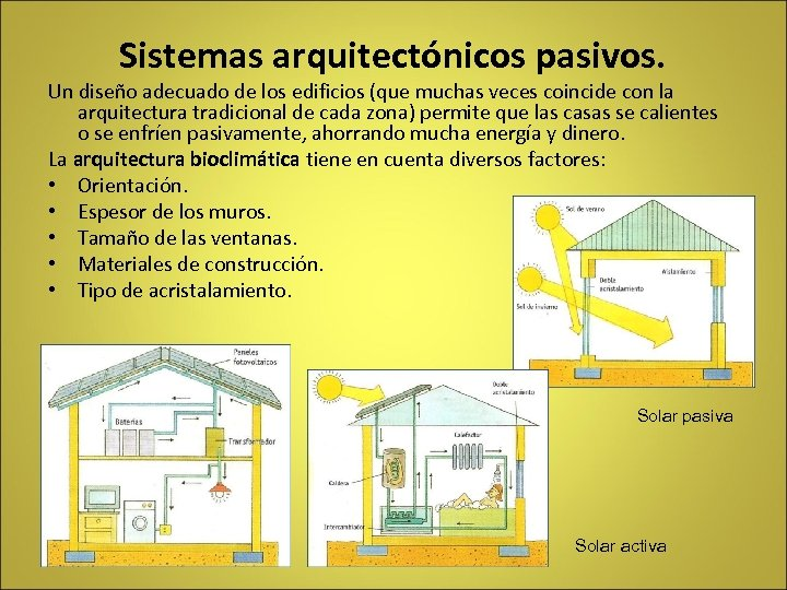 Sistemas arquitectónicos pasivos. Un diseño adecuado de los edificios (que muchas veces coincide con