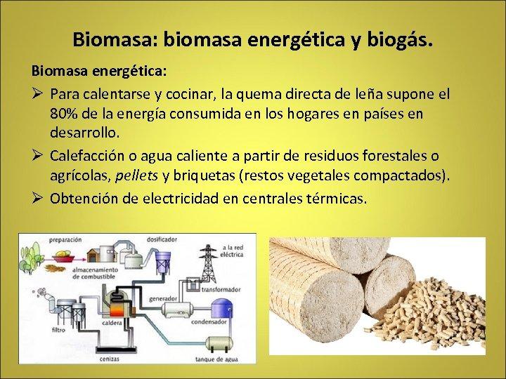 Biomasa: biomasa energética y biogás. Biomasa energética: Ø Para calentarse y cocinar, la quema
