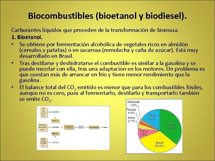 Biocombustibles (bioetanol y biodiesel). Carburantes líquidos que proceden de la transformación de biomasa. 1.
