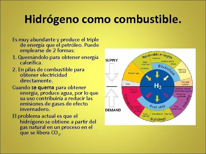 Hidrógeno combustible. Es muy abundante y produce el triple de energía que el petróleo.