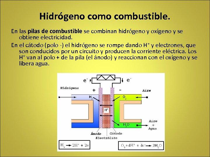 Hidrógeno combustible. En las pilas de combustible se combinan hidrógeno y oxígeno y se
