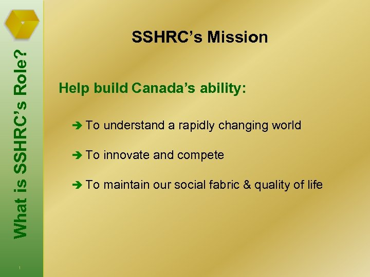 What is SSHRC's Role? SSHRC's Mission 1 Help build Canada's ability: è To understand