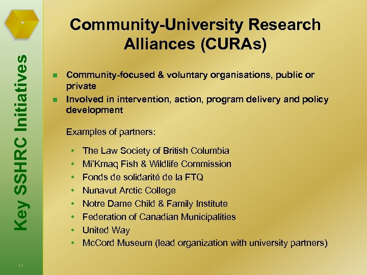 Key SSHRC Initiatives Community-University Research Alliances (CURAs) 11 n n Community-focused & voluntary organisations,