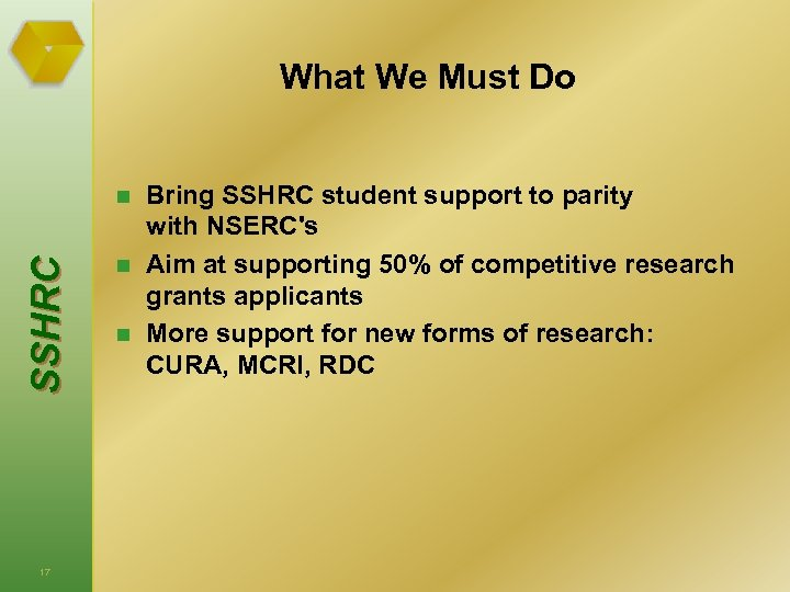 What We Must Do S S HRC n 17 n n Bring SSHRC student