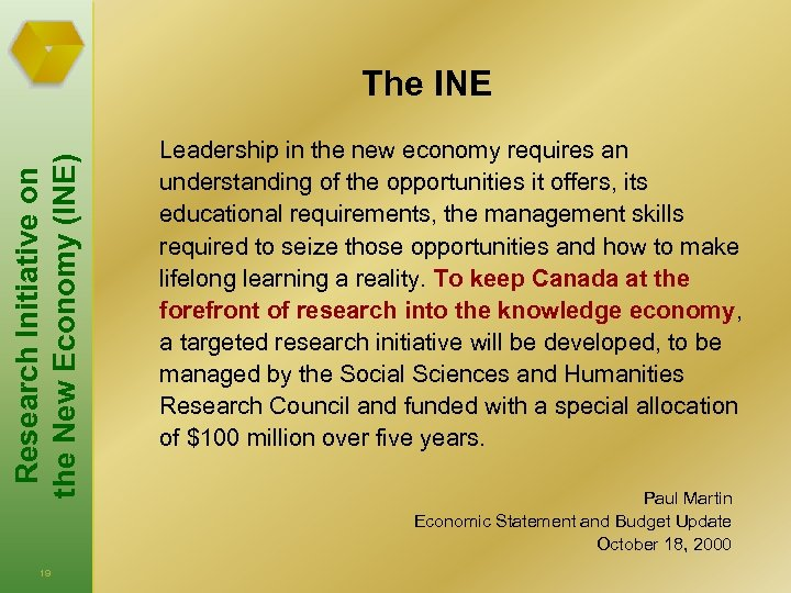 Research Initiative on the New Economy (INE) The INE Leadership in the new economy