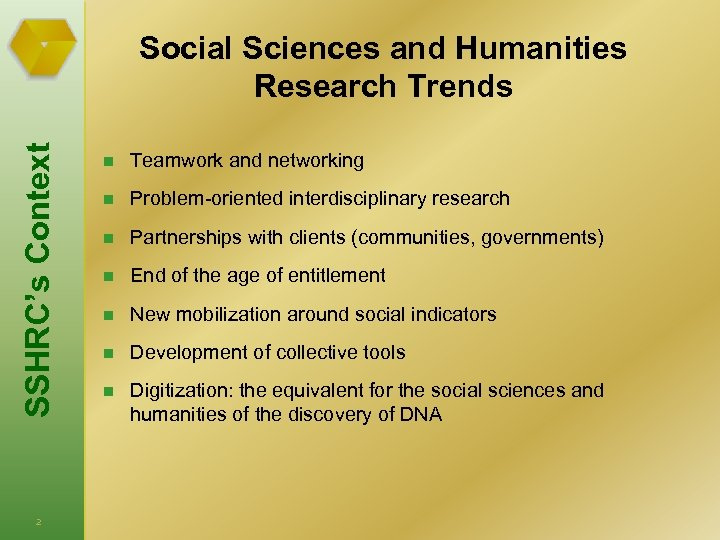 SSHRC's Context Social Sciences and Humanities Research Trends 2 n Teamwork and networking n