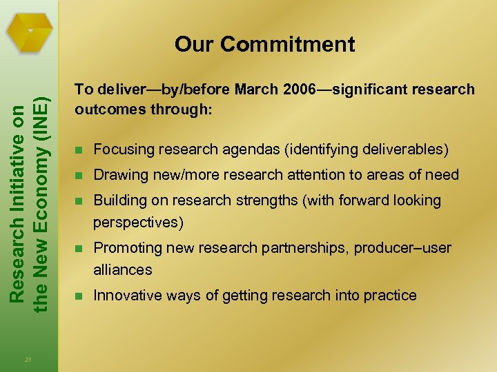 Research Initiative on the New Economy (INE) Our Commitment 21 To deliver—by/before March 2006—significant