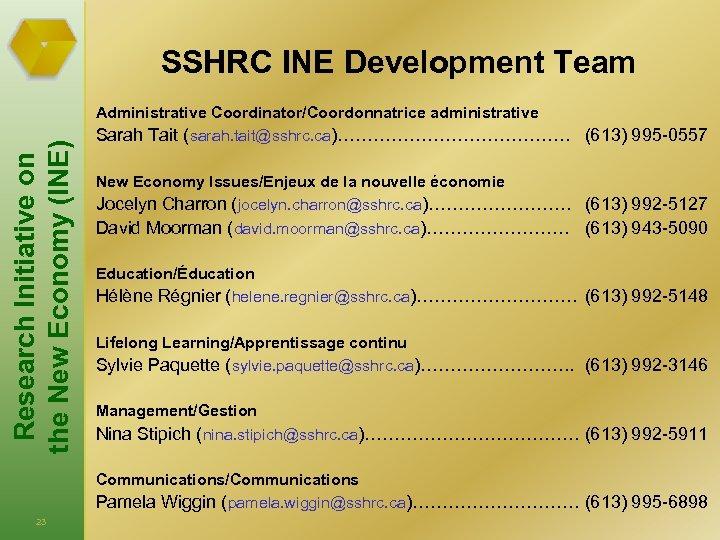 SSHRC INE Development Team Administrative Coordinator/Coordonnatrice administrative Sarah Tait (sarah. tait@sshrc. ca)………………… (613) 995