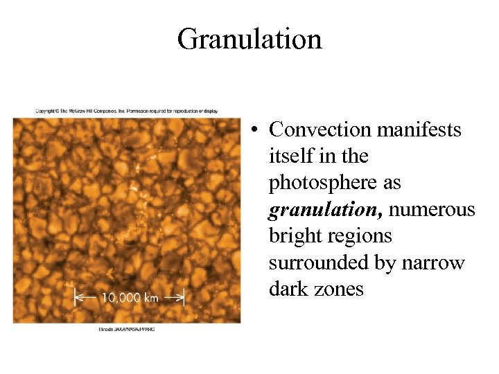 Granulation • Convection manifests itself in the photosphere as granulation, numerous bright regions surrounded
