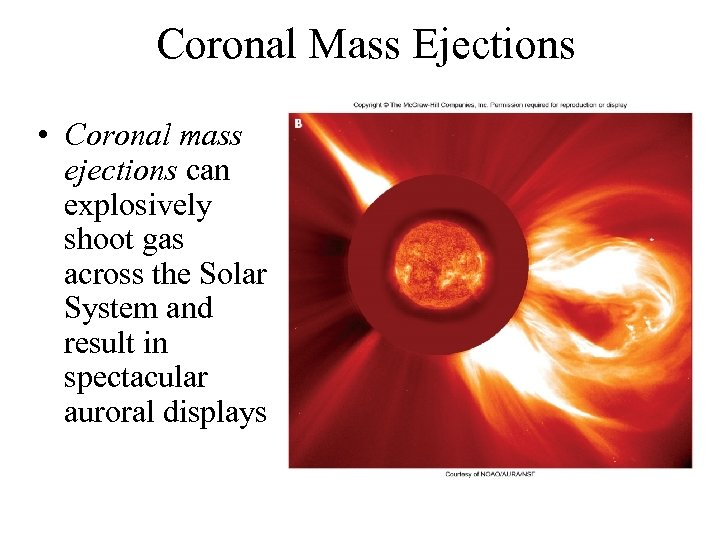 Coronal Mass Ejections • Coronal mass ejections can explosively shoot gas across the Solar