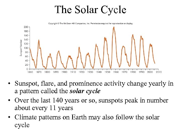 The Solar Cycle • Sunspot, flare, and prominence activity change yearly in a pattern