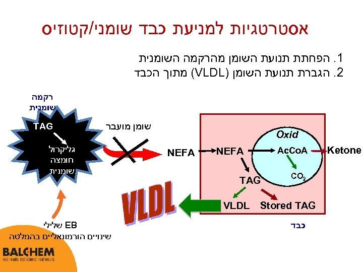 אסטרטגיות למניעת כבד שומני/קטוזיס 1. הפחתת תנועת השומן מהרקמה השומנית 2. הגברת תנועת