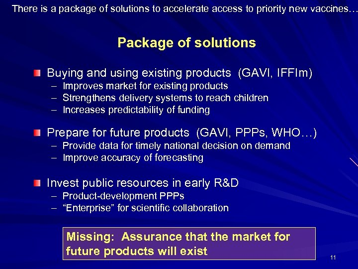 There is a package of solutions to accelerate access to priority new vaccines… Package