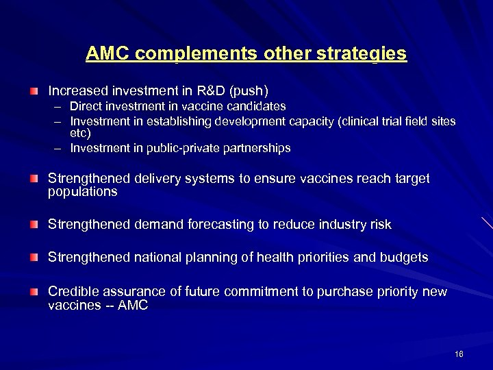 AMC complements other strategies Increased investment in R&D (push) – Direct investment in vaccine