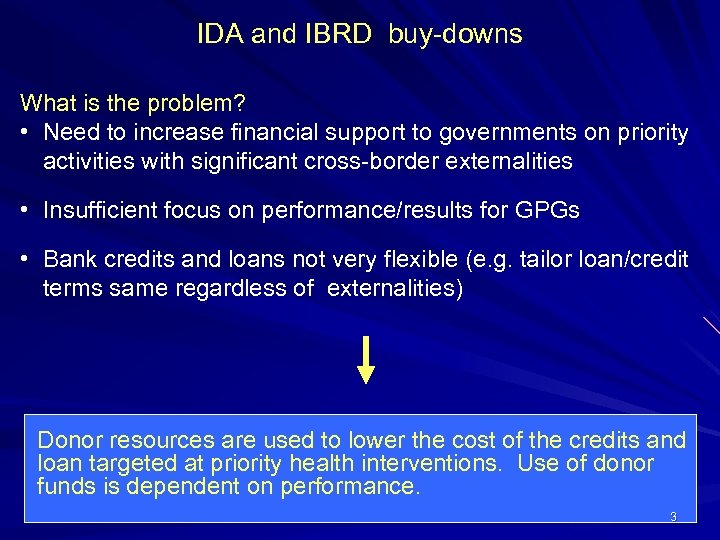 IDA and IBRD buy-downs What is the problem? • Need to increase financial support