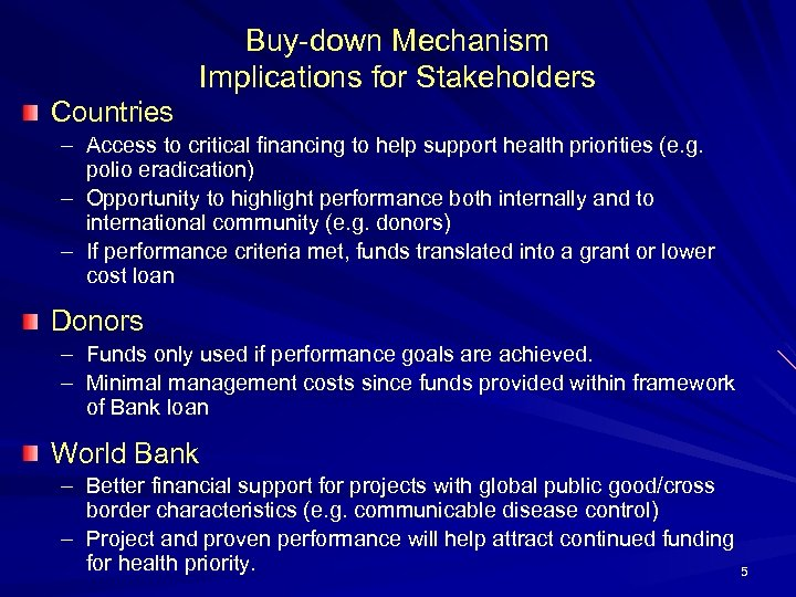 Buy-down Mechanism Implications for Stakeholders Countries – Access to critical financing to help support