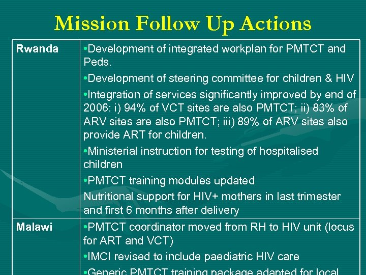 Mission Follow Up Actions Rwanda Malawi • Development of integrated workplan for PMTCT and